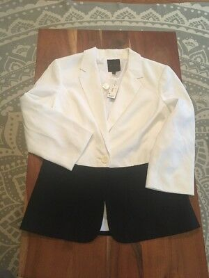 New Nwt The Limited $128 Black White Colorblock Blazer Coat Jacket M