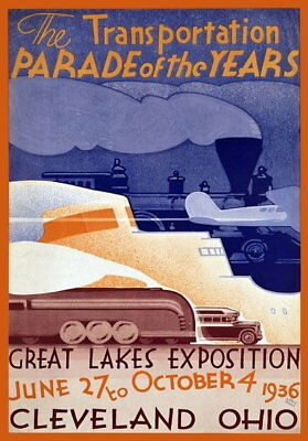 83868 Vintage 1930 American Great Lakes Cleveland Ohio WALL PRINT POSTER US