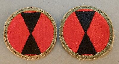 2 - WWII World War 2 U.S. Army 7th Infantry Division Used Patch (es) No Reserve