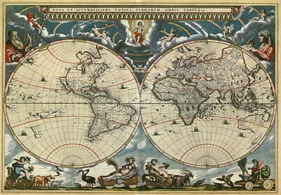 85068 Vintage Historical Map Of The World Orbis Decor WALL PRINT POSTER UK