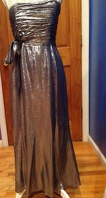 Sequined Silver size 8 David Meister Gown