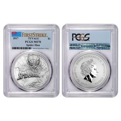 Lot of 2 - 2017 1 oz Tuvalu Spiderman Marvel Series Silver Coin PCGS MS 70 First