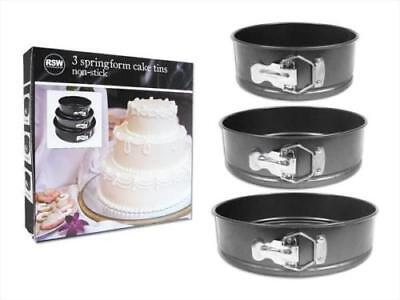 3 Round Carbon Steel Non-Stick Cake Baking Pan Tin 18cm, 22cm & 26cm