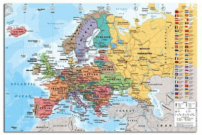 88219 Europe Map With Flags Wall Chart Decor WALL PRINT POSTER AU