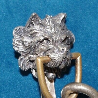 Fine Victorian Antique Silver Plate Chatelaine Clip In The Form Of A Terrier Dog