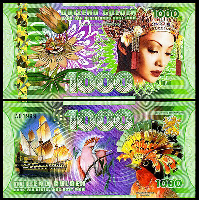 Netherlands East Indies (Indonesia) 1000 Gulden note 2016 Polymer Banknote - UNC