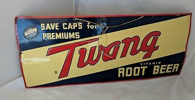 "1940's Vintage Embossed Twang Root Beer Sign Antique Signs 28""x 12"""