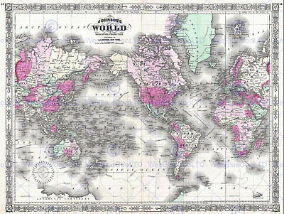 86531 GEOGRAPHY MAP ILLUSTRATED ANTIQUE JOHNSON Decor WALL PRINT POSTER AU