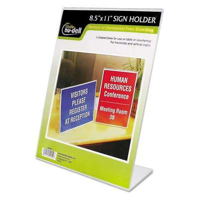 NuDell Clear Plastic Sign Holder, Stand-Up, Slanted, 8 1/2 x 11 042122000506