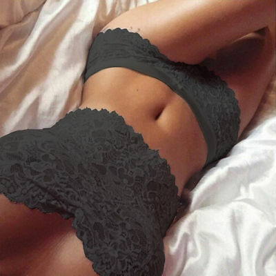sexy hot erotic lacy top and panties knickers black lingeries size 8/10