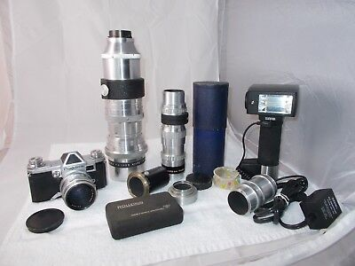 Praktina FX Germany Professional Camera Outfit 3 Lenses Flash and Adapter