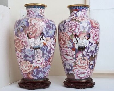 Near Pair Large Vintage Chinese Cloisonne Vases Decorated Herons/Flowers Stands