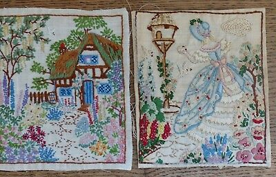 Vintage Embroidered Crinoline Lady Doves + English Country Cottage Garden