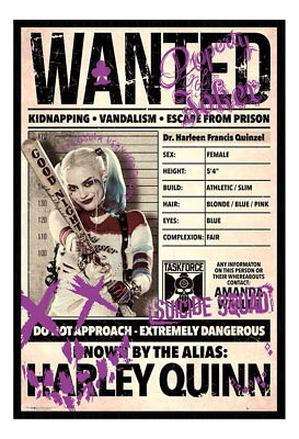 89121 Harley Quinn Wanted Suicide Squad Film Movie Decor WALL PRINT POSTER UK