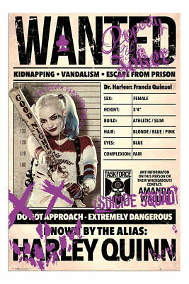 88298 Harley Quinn Wanted Suicide Squad Film Decor WALL PRINT POSTER UK