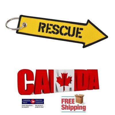 Rescue Yellow Embroidered Label Key Chain Tag Keychain Car Motorbike Mororcycle