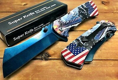 "8.5"" TACTICAL US NAVY Spring Assisted  Pocket Knife CLEAVER RAZOR  Blade"