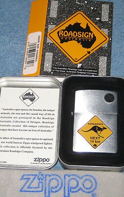 ZIPPO  ROAD SIGN AUSTRALIA Lighter 629 KANGAROO Mint In Tin NEXT 14 km WITH CARD