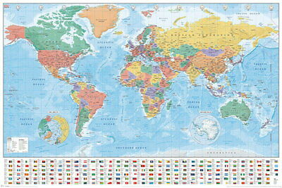 90608 POLITICAL MAP OF THE WORLD WORLD MAP WITH FLAGS Decor WALL PRINT POSTER CA