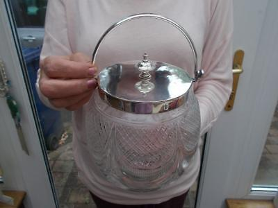 Victorian Cut Glass Silver Plated Biscuit Barrel Finely Cut Plate Is Gleaming