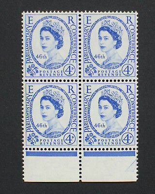 GB 1957 4d 46th Inter-Parliamentary Union Conference MNH Block of 4.