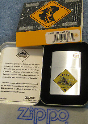 ZIPPO  ROAD SIGN AUSTRALIA Lighter 631 LAST PUB Mint In Tin NEXT 897 km W/CARD