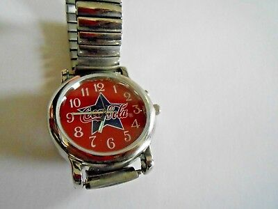 Coca Cola Wrist Watch Red Face With Navy Star And Coca Cola Logo - Lights Up!!