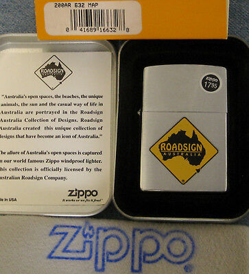 ZIPPO  ROAD SIGN AUSTRALIA Lighter 632 MAP Mint In Tin  WITH CARD Sealed