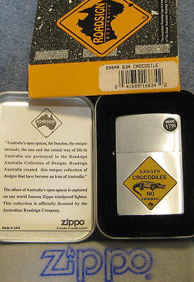 ZIPPO  ROAD SIGN AUSTRALIA Lighter 634 CROCODILE Mint In Tin NO SWIMMING W/Card