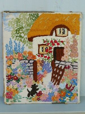 Vintage Embroidered English Cottage + Garden And Black Cat Picture Panel
