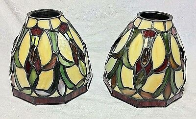 """Pair of Tiffany Style Leaded Stained Slag Glass and Jeweled Lampshades - 5"""""""