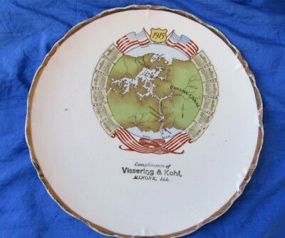 Panama Canal Calendar Collectible Plate 1915 Vissering & Kohl Minonk, Illinois