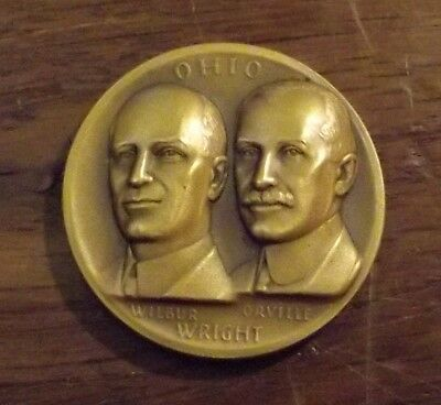 Médaille en bronze Wilbur Orville Wright  the great seal of the state of OHIO