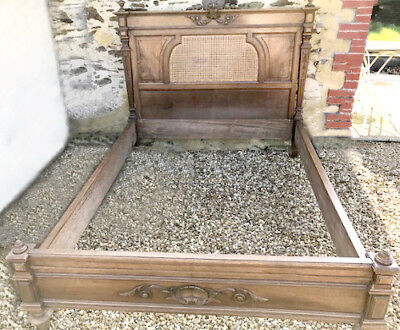 Wonderful Old French Louis Xvi Style Cane And Walnut Double Bed - Low Foot