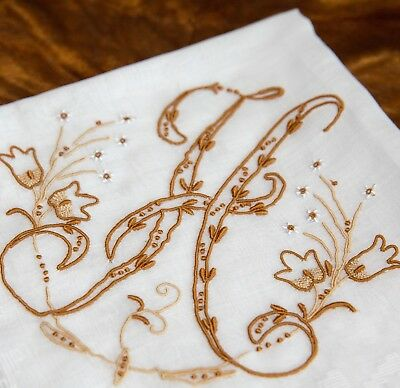 Vintage Madeira Hanky Monogram H All Hand Embroidered