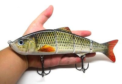 "10"" Multi Jointed Muskie Pike Big Fishing Bait Lure Swimbait Life-like"