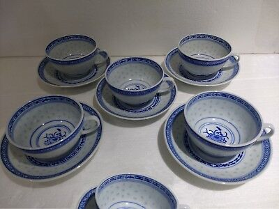 6 Vintage Rice Eyes Flower Pattern Blue White Cups & Saucers
