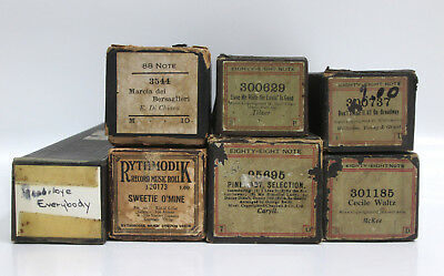 Lot 7 Antique Piano Player Word Rolls Eighty Eight Note H Trovatore Cecile Waltz