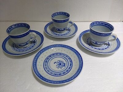 Vintage Chinese Blue White Porcelain Rice Eyes Flower 3 DEMI Cups 4 Saucers Set