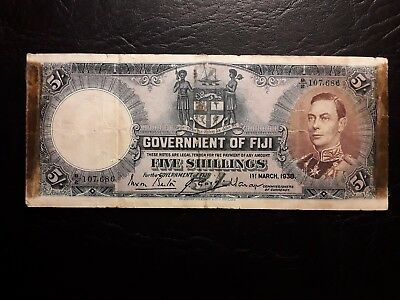 Government of Fiji 5 Shillings 1938