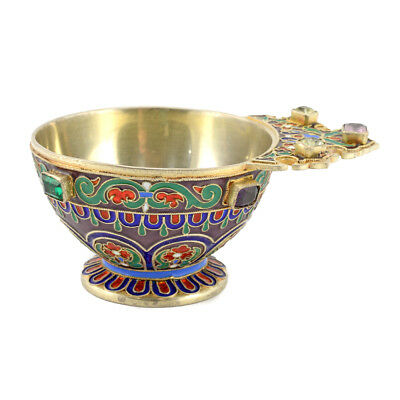 Antique Russian Ovchinnikov Gem-Set Gilded Silver And Cloisonné Enamel Charka