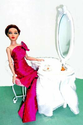 "Tonner Tiny Kitty Vanity Table w/Mirror Chair Furniture for 10"" Doll BJD Barbie"