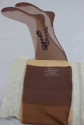 Ankelure Vintage Seamed Stockings side flower 10.5-11 x 31.5 MADE IN U.S.A.