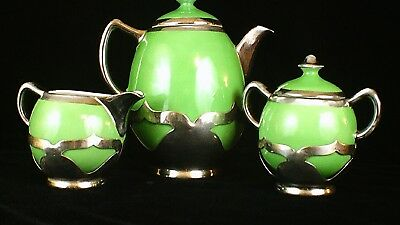 Art Deco Krome Kraft by Farber Brothers with Fraunfelter China inserts