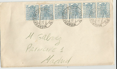 Spain  Civil  War 1937  Especial Movil Stamps  Six  On  Cover Monfort  To  Madri