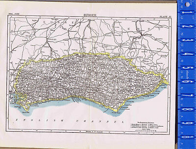 County of Sussex in England - Map Print -- 1907
