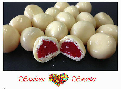 1Kg White Chocolate Coated Red Raspberries Lollies Candy Chocolates Choc