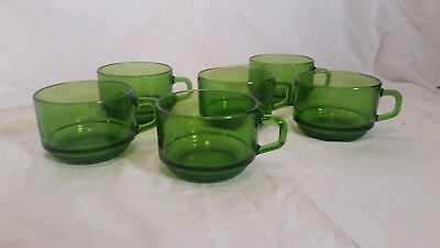 DURAX FRANCE Green Tempered Glass Coffee Cups/mugs Mid Century Retro Vintage