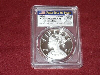 2017-P American Liberty Silver Medal PCGS PR69DCAM First Day of Issue Graded