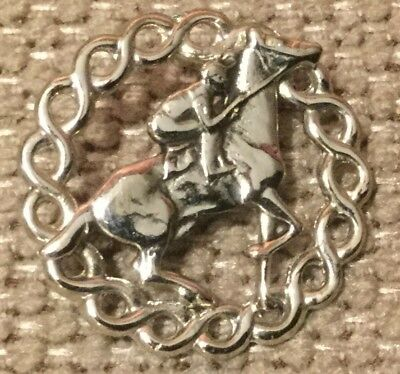 Race Horse Rider in Circle Costume Silver Pin